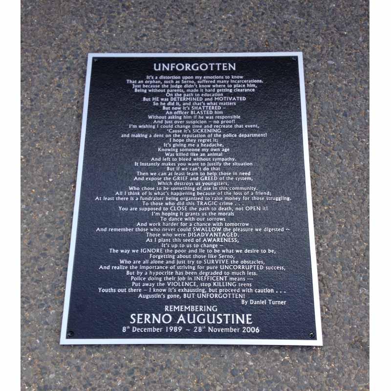 Memorial PLAQUE18 x 24 AlUMINIUM black