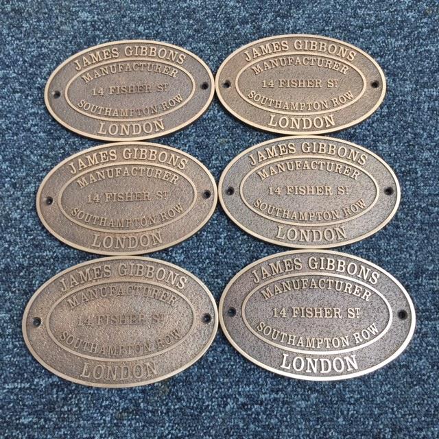 BRONZE PLAQUES 6 X 4 MAKERS PLATES