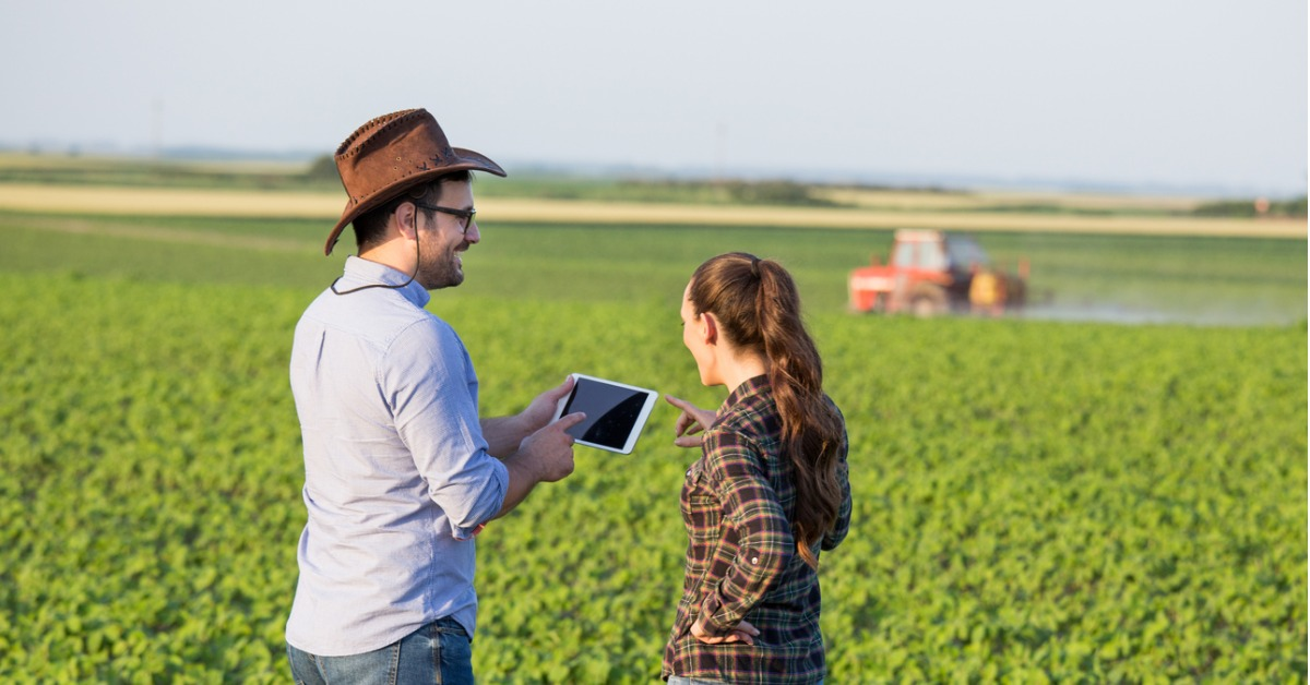 Two farmers looking at tablet technology on farm