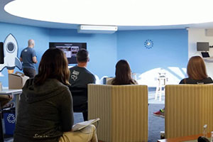 Four customers attending a private training class at Service Rocket office in Palo Alto, California.