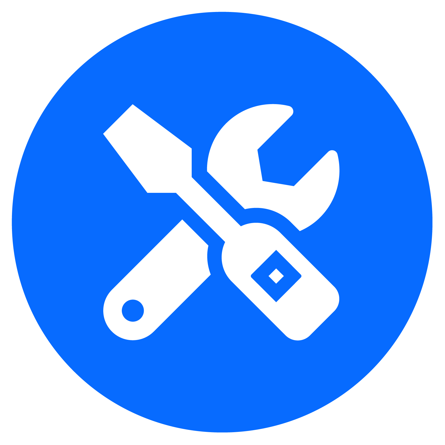 Services icon in color blue (screwdriver and wrench), representing  Confluence implementation and customization to meet customer's business needs.