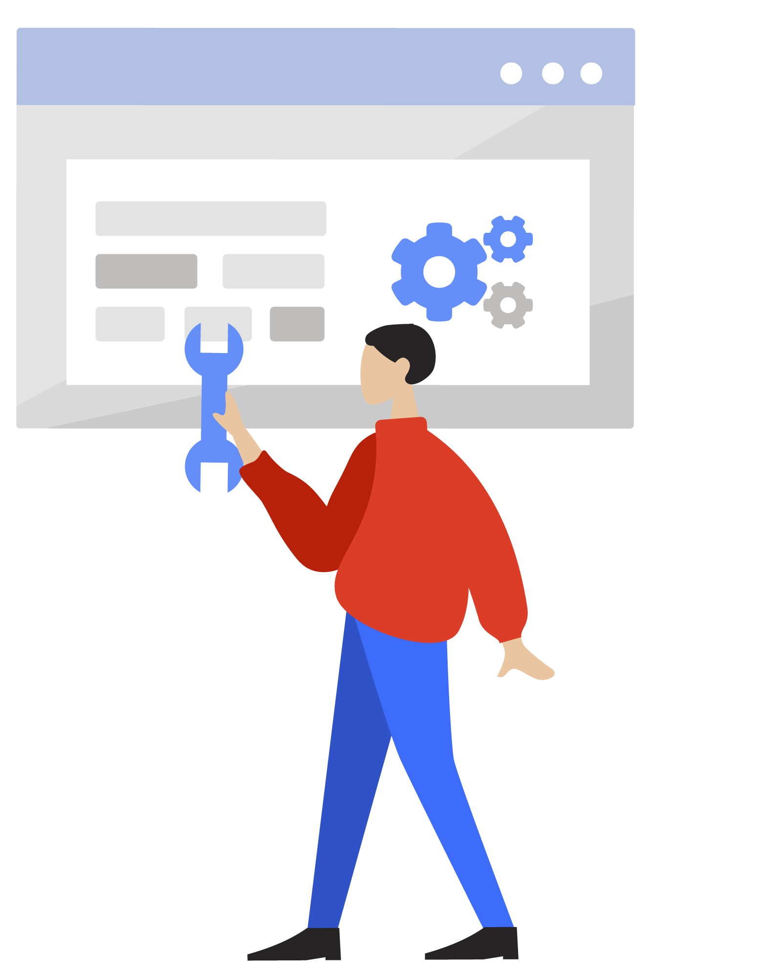 Illustration of a ServiceRocket worker providing online training services to help customers improve their business performance.