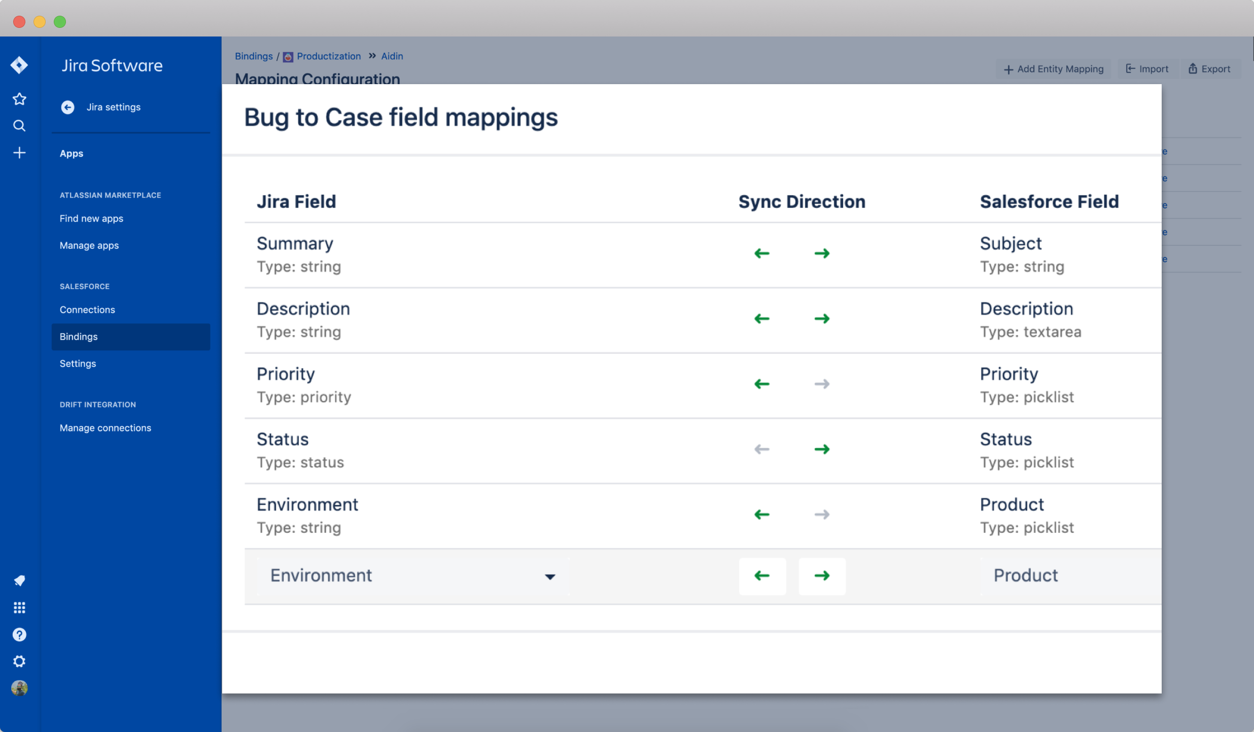 Connector for Salesforce and Jira screenshot demonstration of creating field mappings.