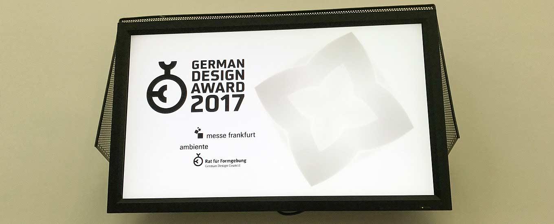 Eingangsschild zum German Design Award 2017
