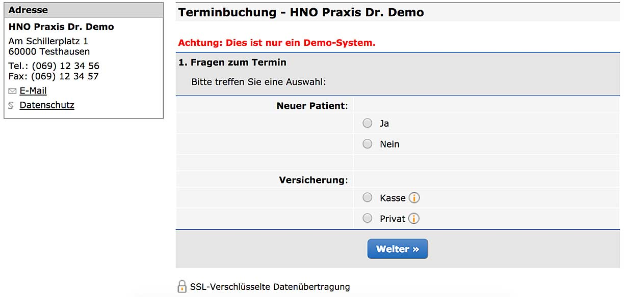 Screenshot einer Demoversion des Termin-Tools terminland.de