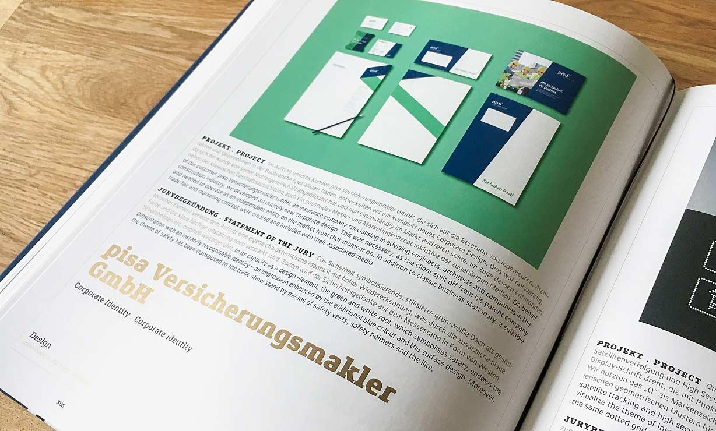 Die Arbeit von ideenhunger für die pisa Versicherungsmakler GmbH, wurde in dem diesjährigen Band des German Design Awards ausgestellt