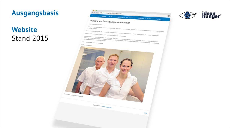 Abbildung der Website vom Augenzentrum Eckert (Stand 2015)
