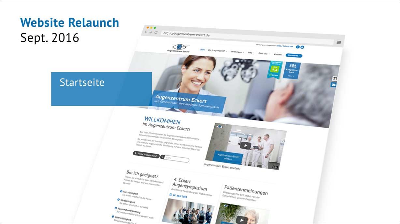 Abbildung der Website vom Augenzentrum Eckert nach dem Relaunch (Stand 2016)