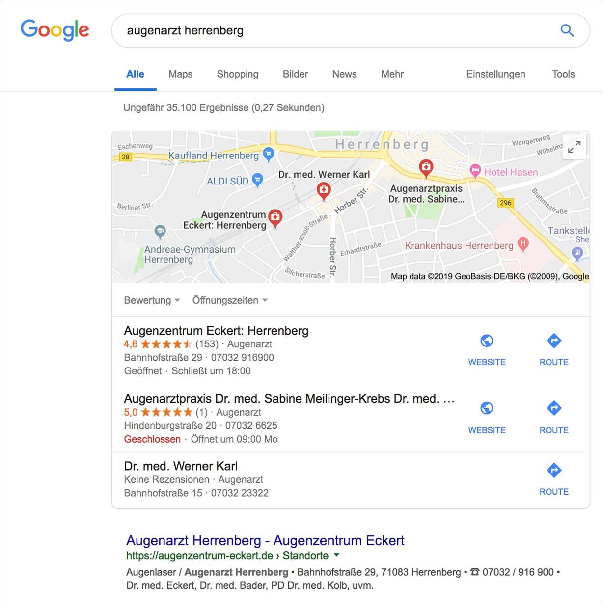 """Suchergebnistreffer bei Google bei der Suchanfrage """"augenarzt herrenberg"""""""