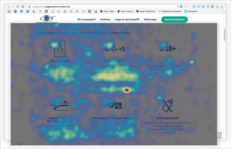 Heatmap einer Website vom Augenzentrum Eckert