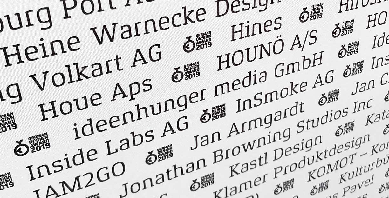 ideenhunger media GmbH unter all den Marken die den German Design Award 2019 gewonnen haben