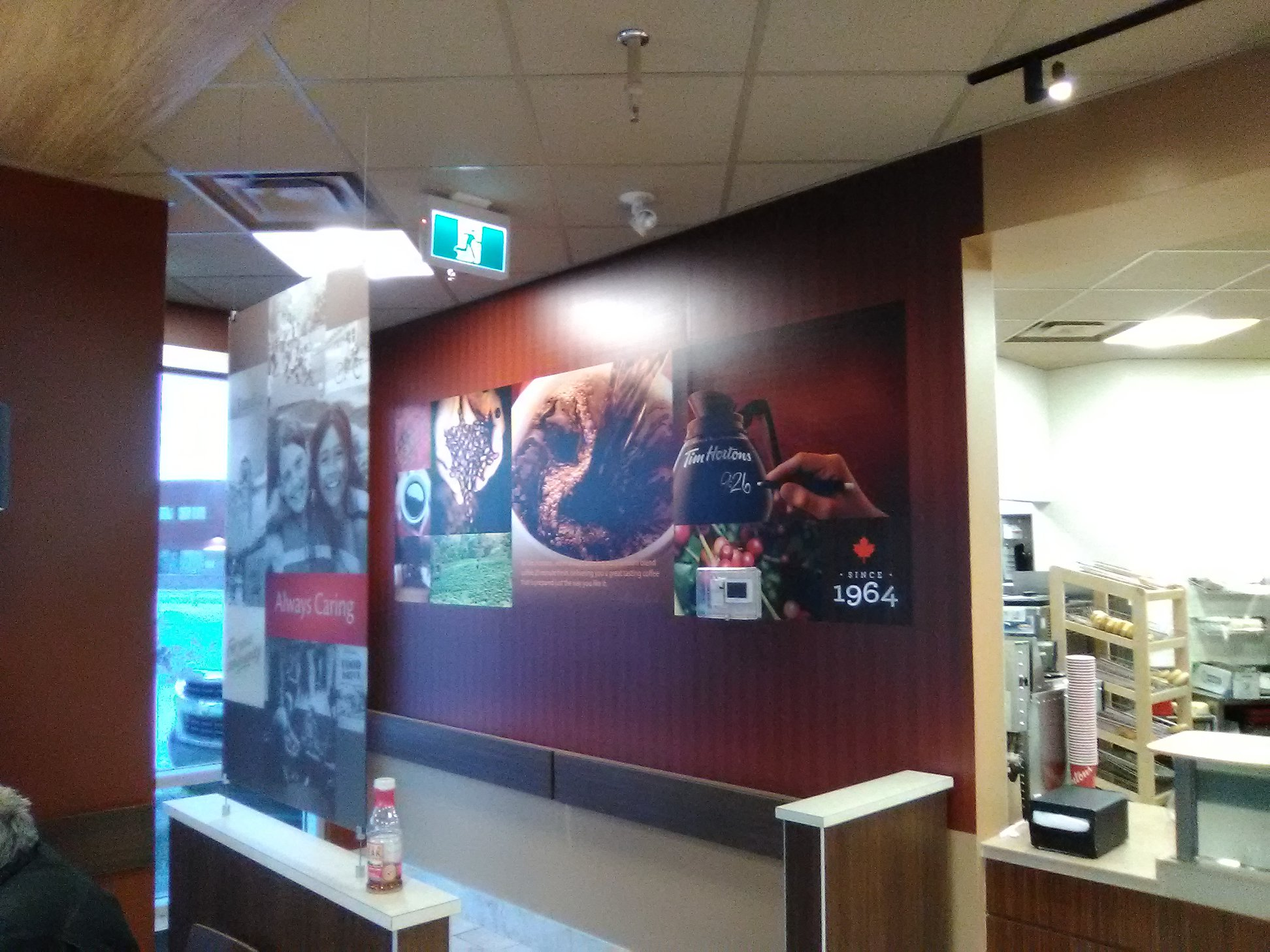 Time Hortons interior signage for downtown location.