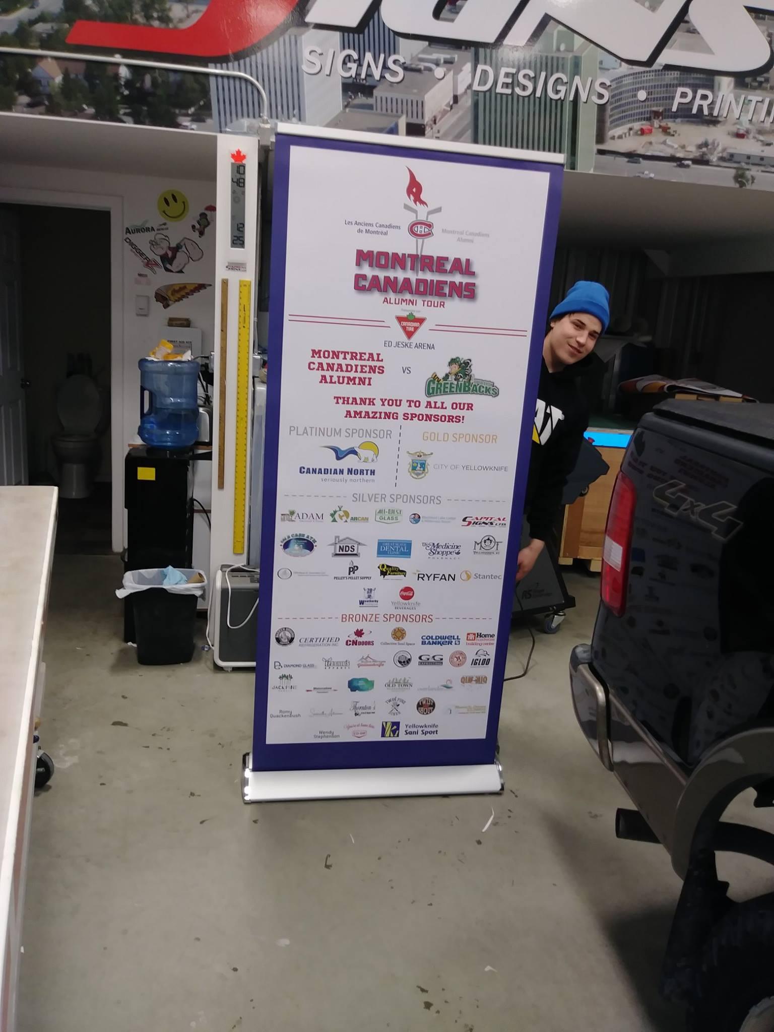 Montreal Canadiens Alumni Tour sponsorship banner.