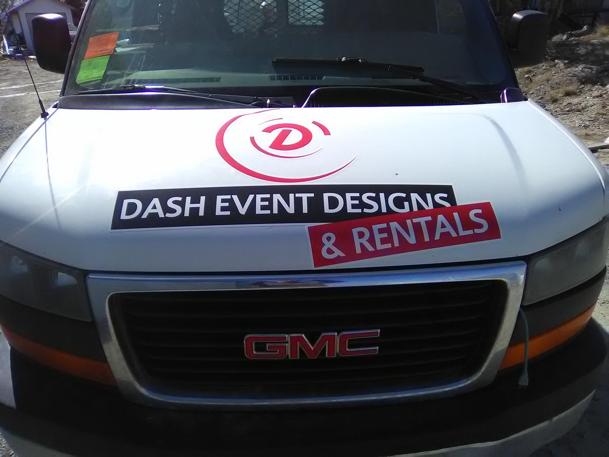 Dash Event Designs & Rentals commercial vehicle wrap