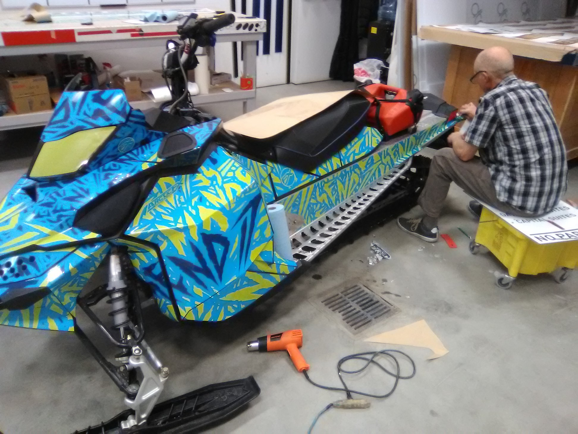 Custom Blue Sled Wraps