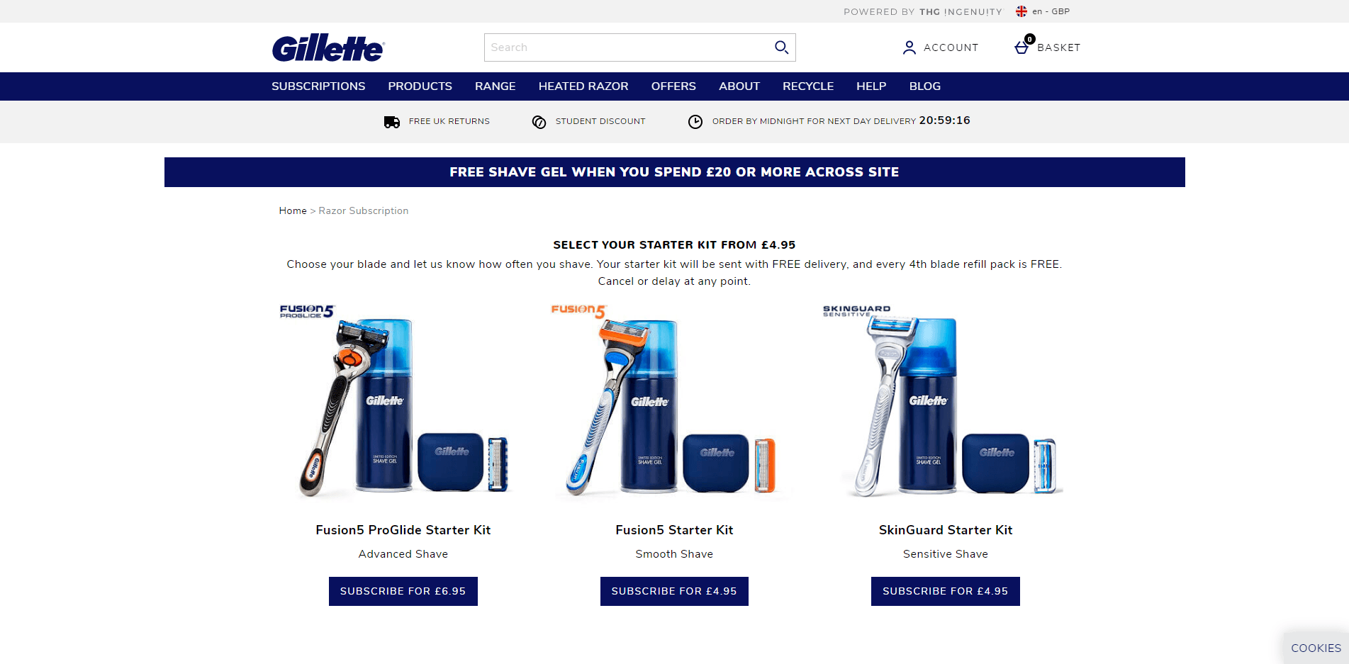 gillette subscription product ecommerce