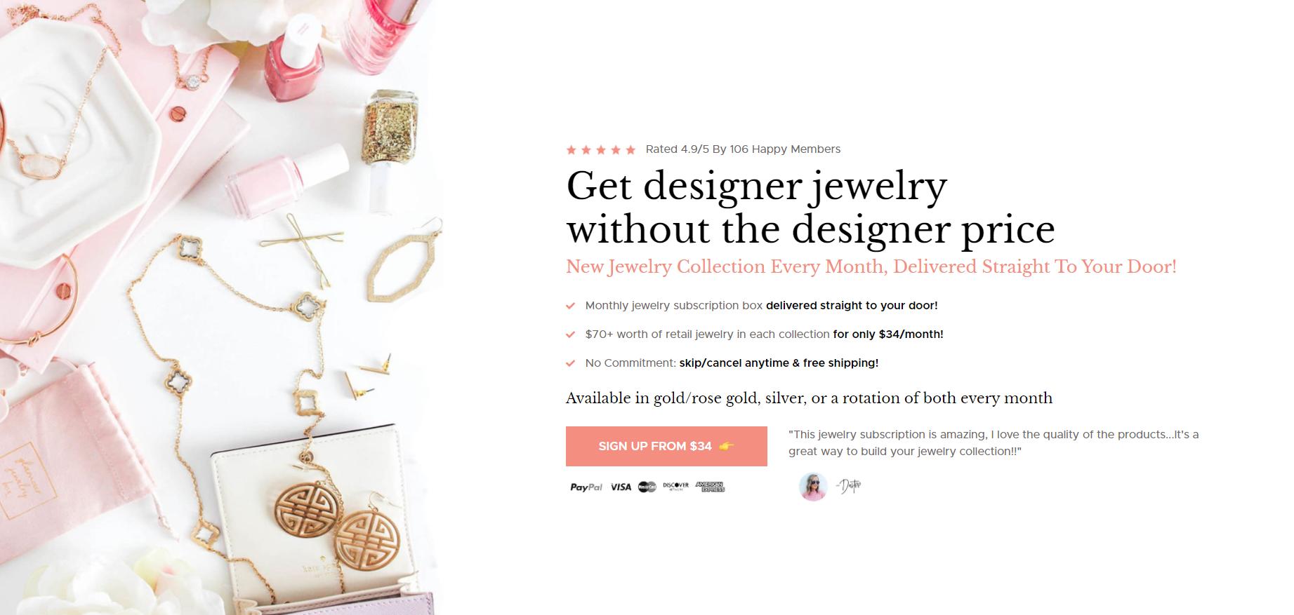 glamour box jewelry subscription box ecommerce