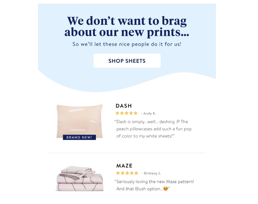Brooklinen customer reviews email campaign ecommerce