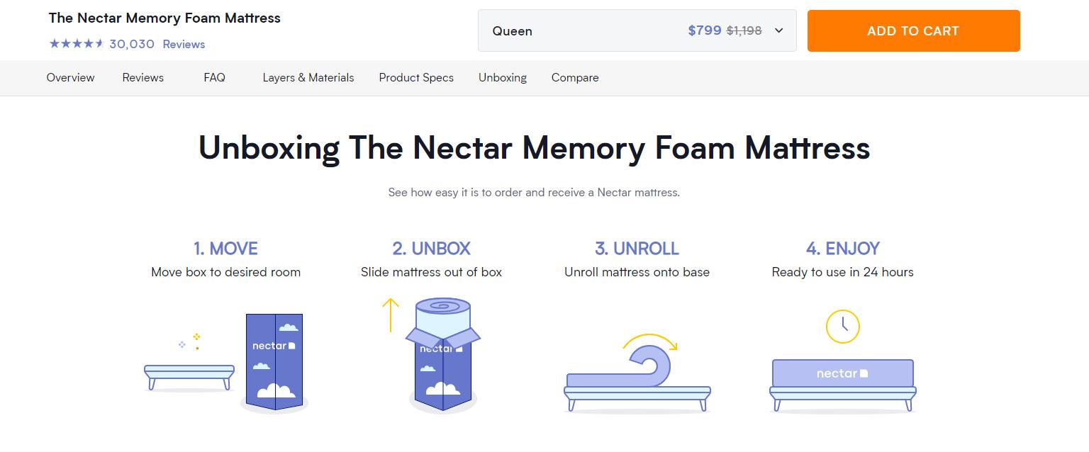 nectar mattress sticky menu product page ecommerce business