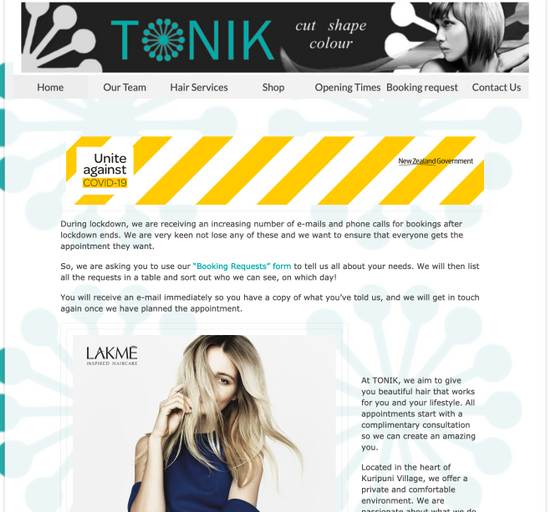 Tonik Hair, Kuripuni. - Website developer
