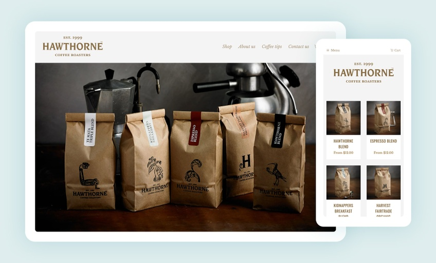 Hawthorne Coffee website - Tim Archer
