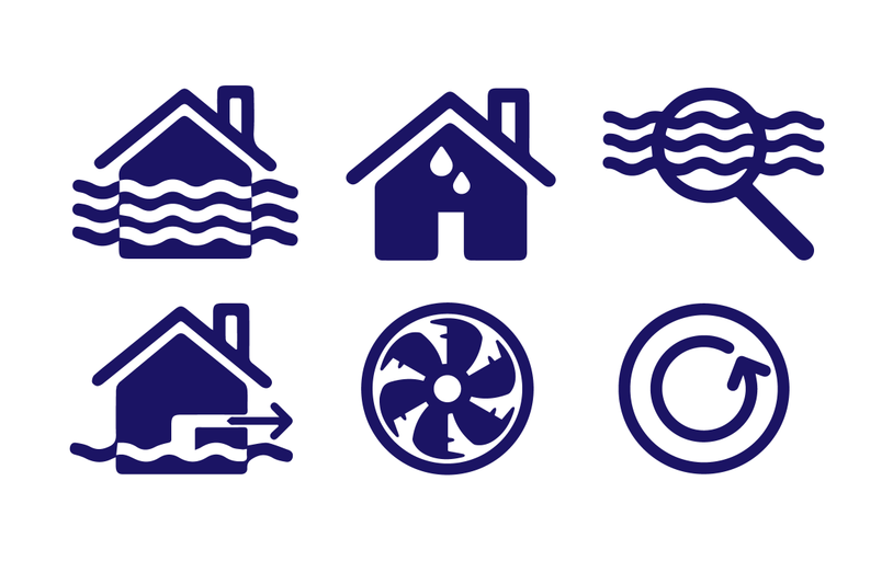 Flood recovery service icons for website - Illustrator