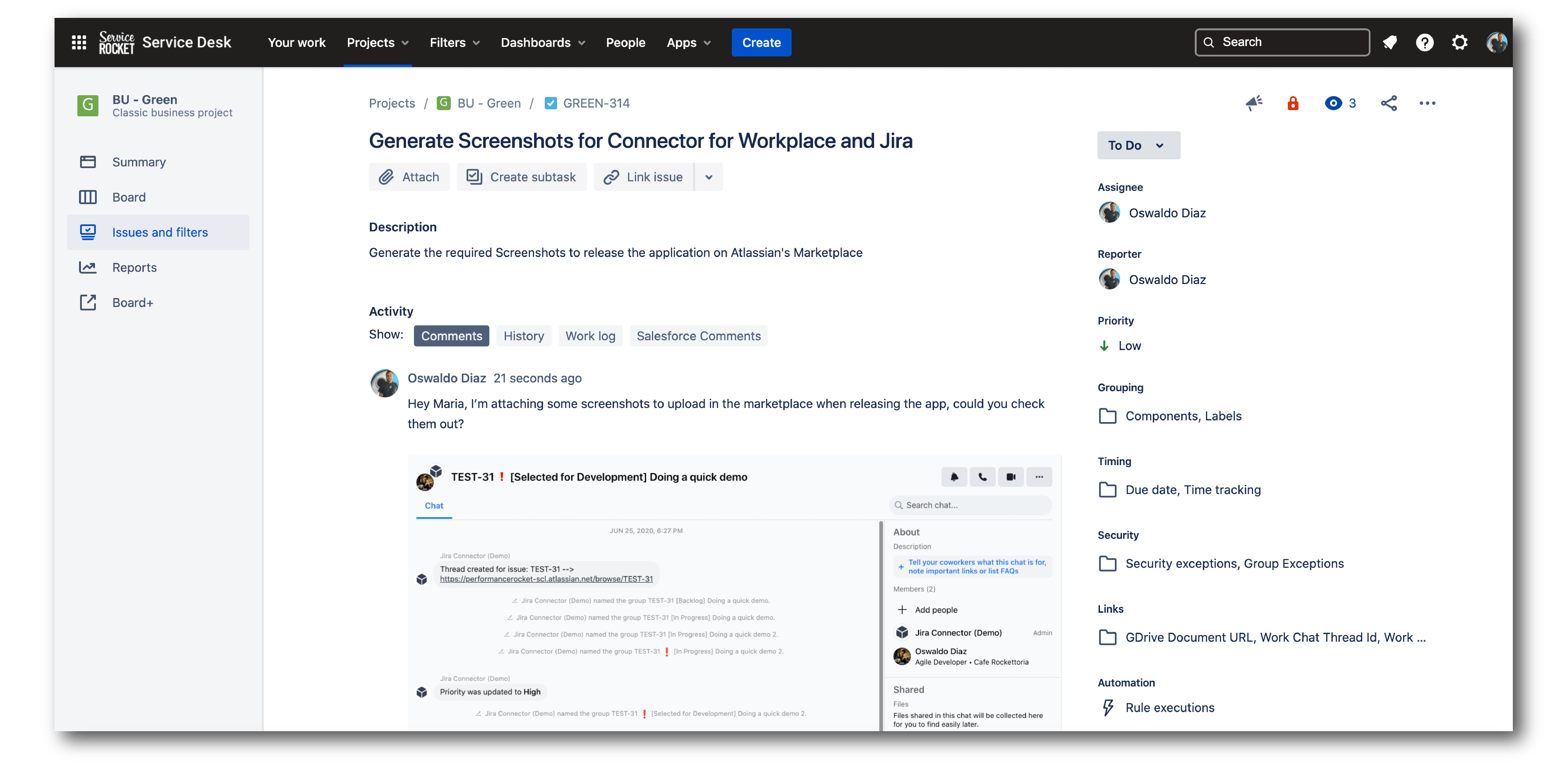Jira Issue Links in Workplace Chat