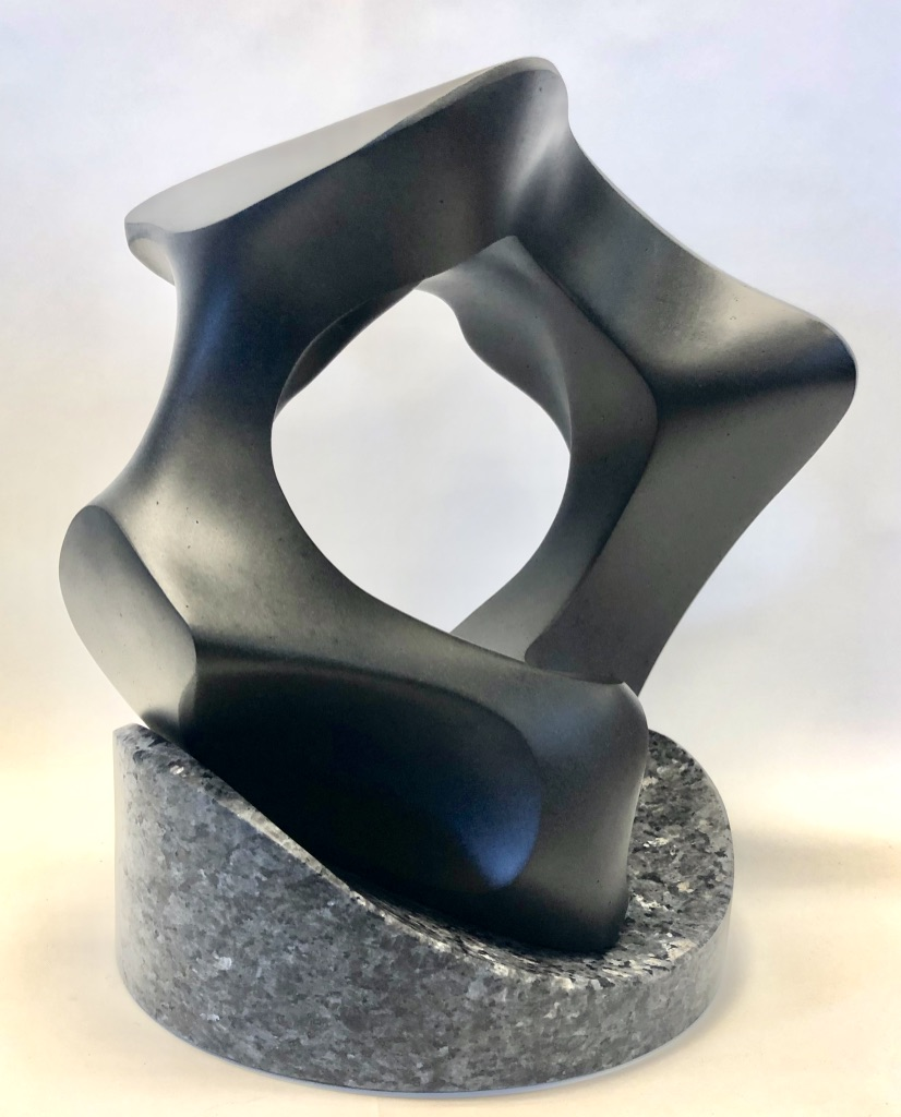 """Equatorial Equinox #10"" NW Basalt on Blue Pearl Granite 15"" H x 12"" W x 10"" D $3500"