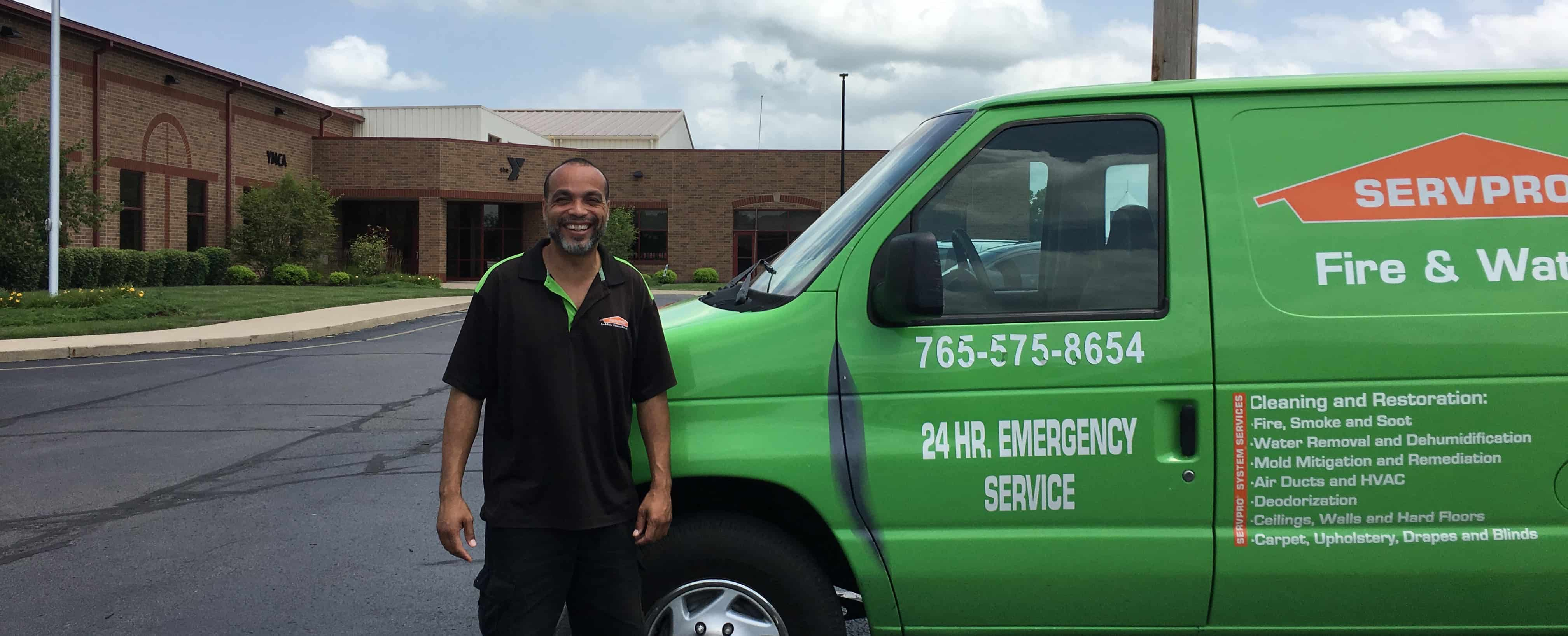 Servpro van outside of the Henry County YMCA symbolizing the partnership between the organizations.