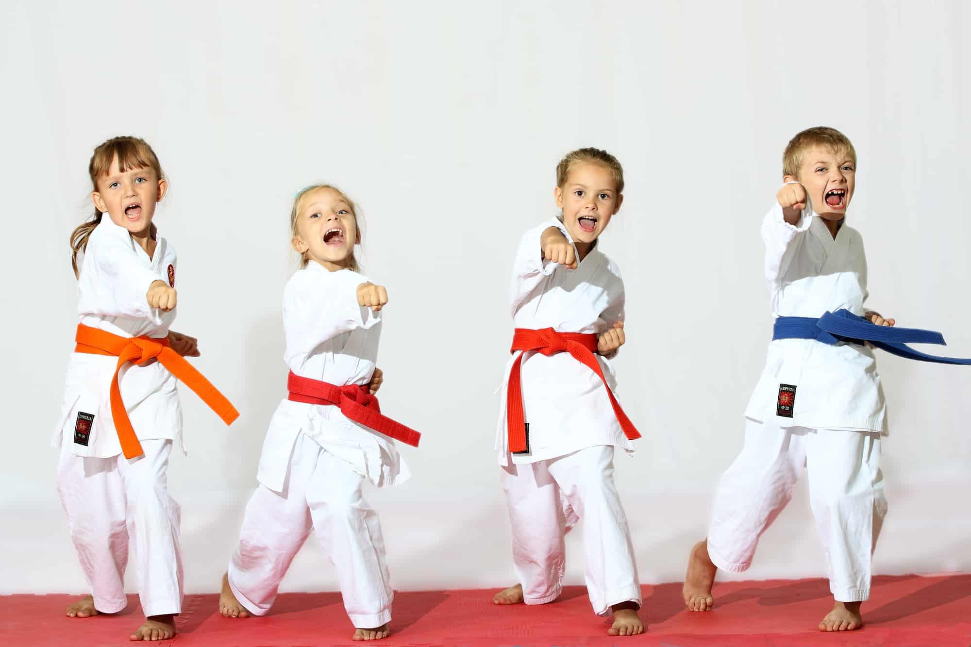 Kids participate in a karate class