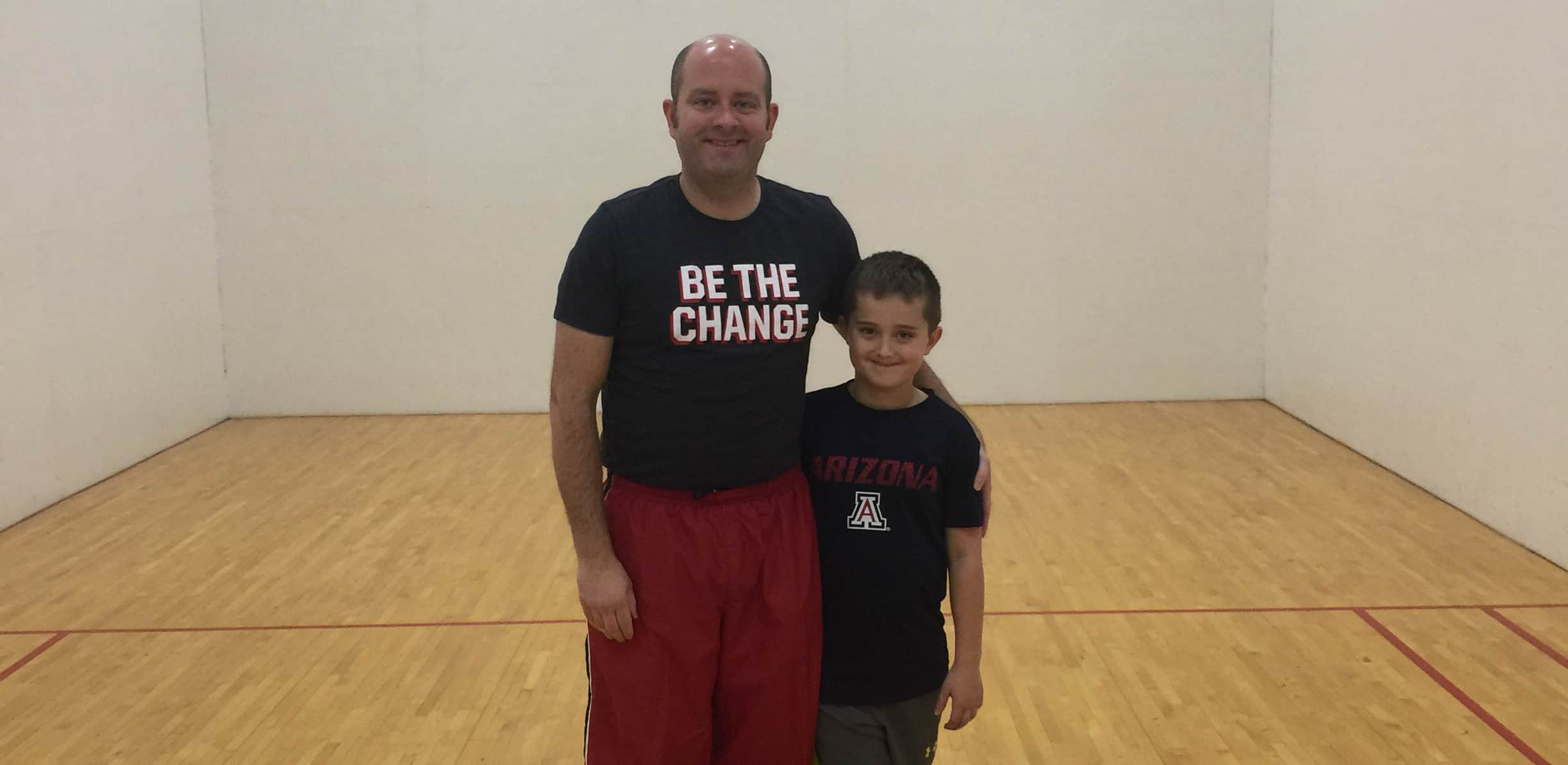 Anthony and his son work out together at the Y.