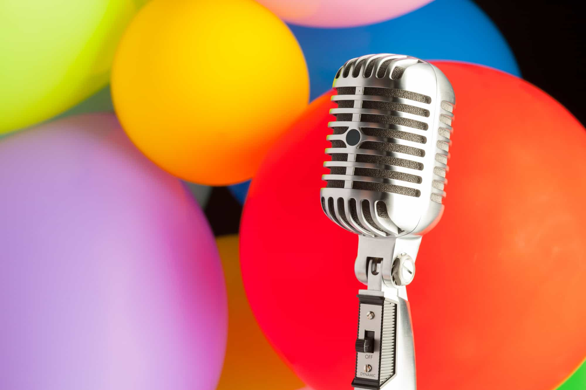 balloons and microphone