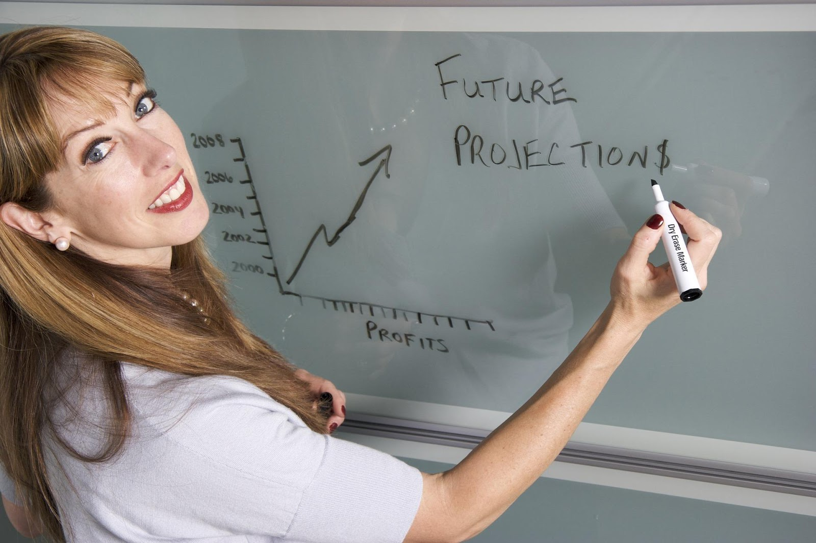 woman writing a graph of future profit projection