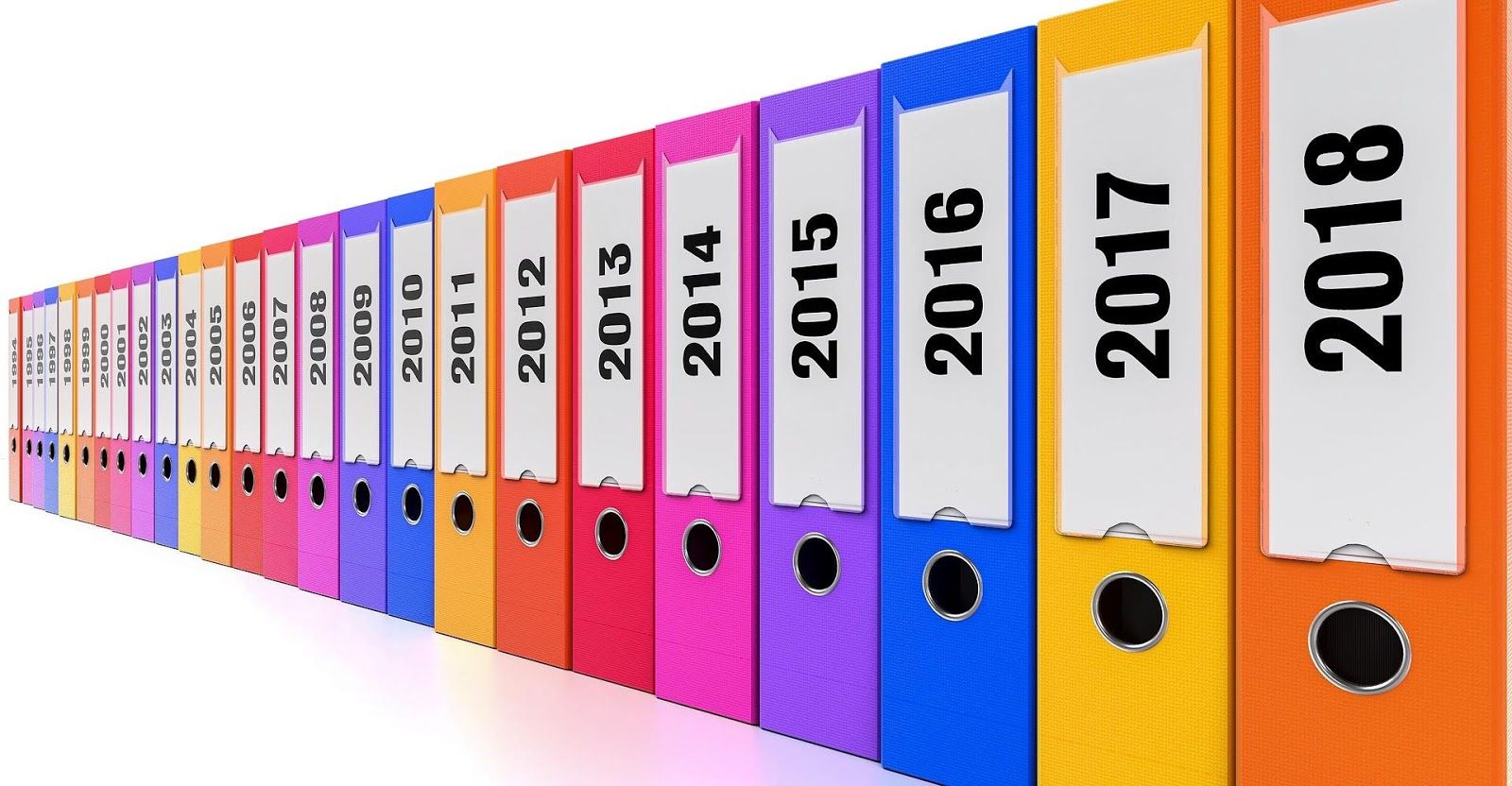 ring binders arranged by year