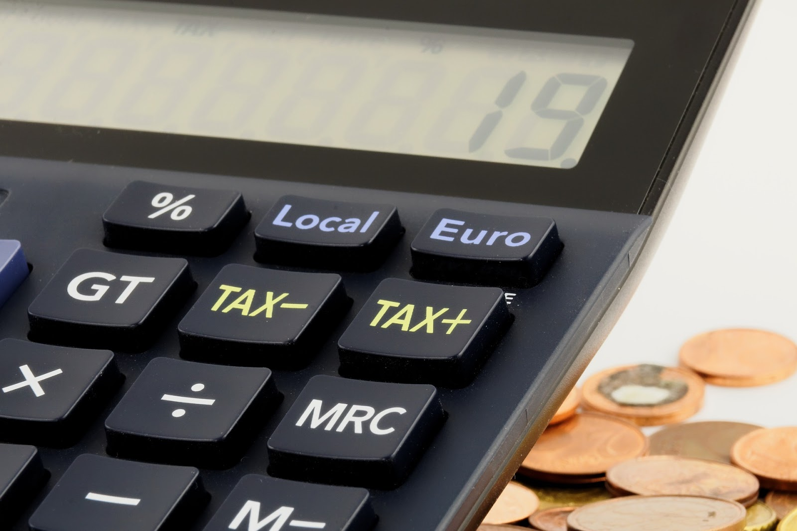 close up to tax functions in calculator