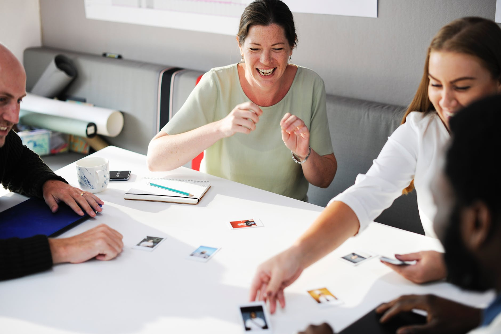Talent retention: team members work together on a project