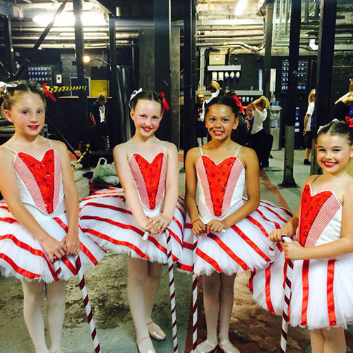 Amy Young Dance children's party entertainment. Kids in candy cane ballerina costumes