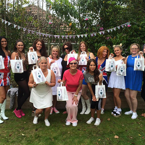 Hen party daytime activities with Amy Young Dance. Images of women with gift bags.