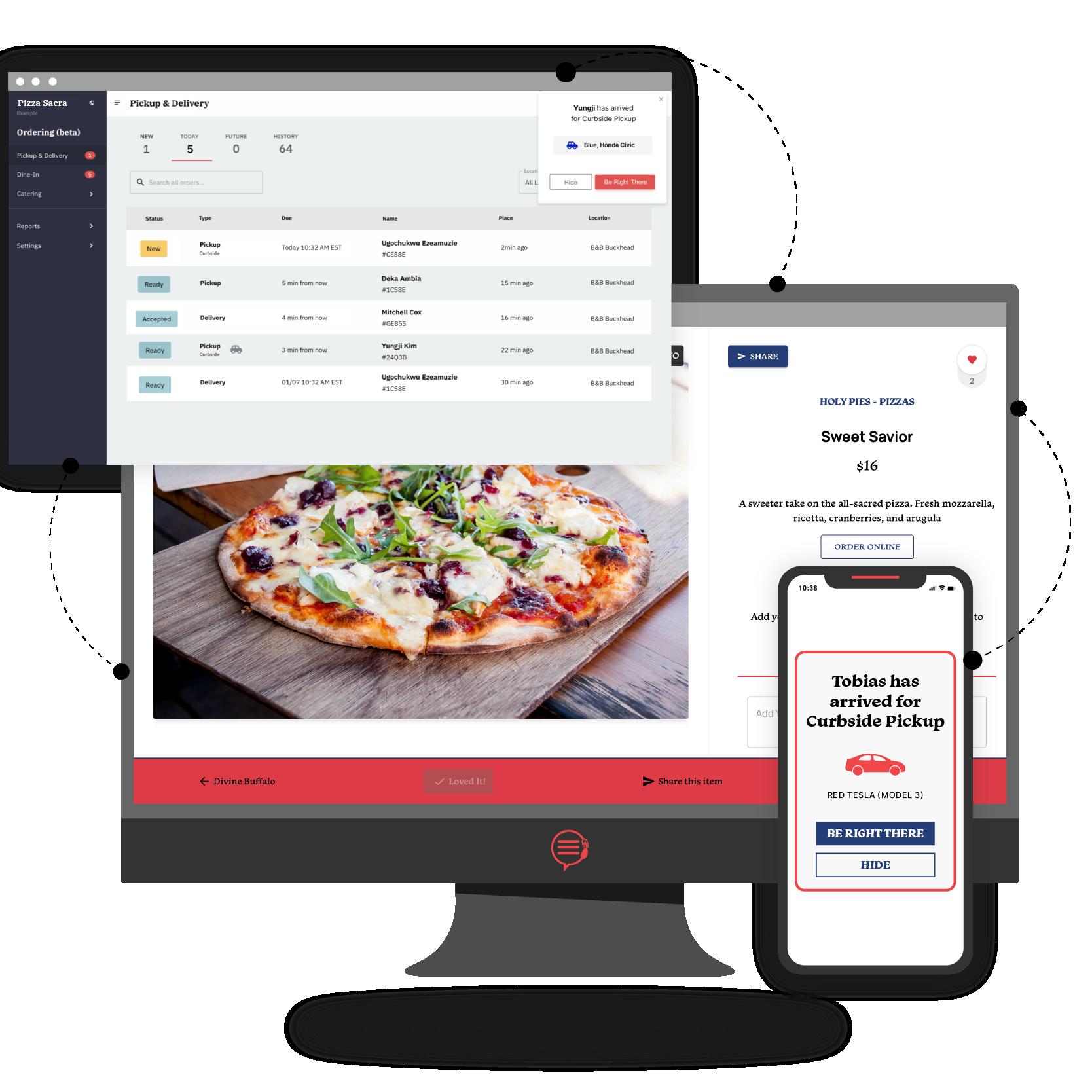 Desktop and phone displaying Popmenu Curbside Order Management for restaurants