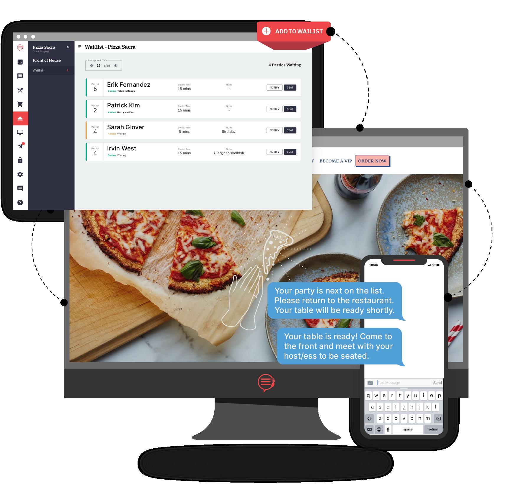 Desktop and phone screen showing Popmenu Waitlisting process