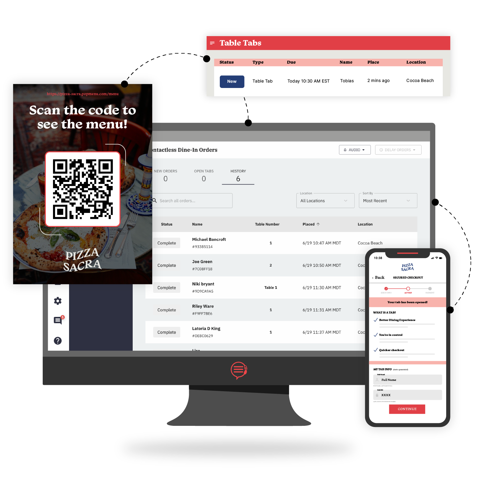 Desktop and phone showing Contactless Ordering capabilities