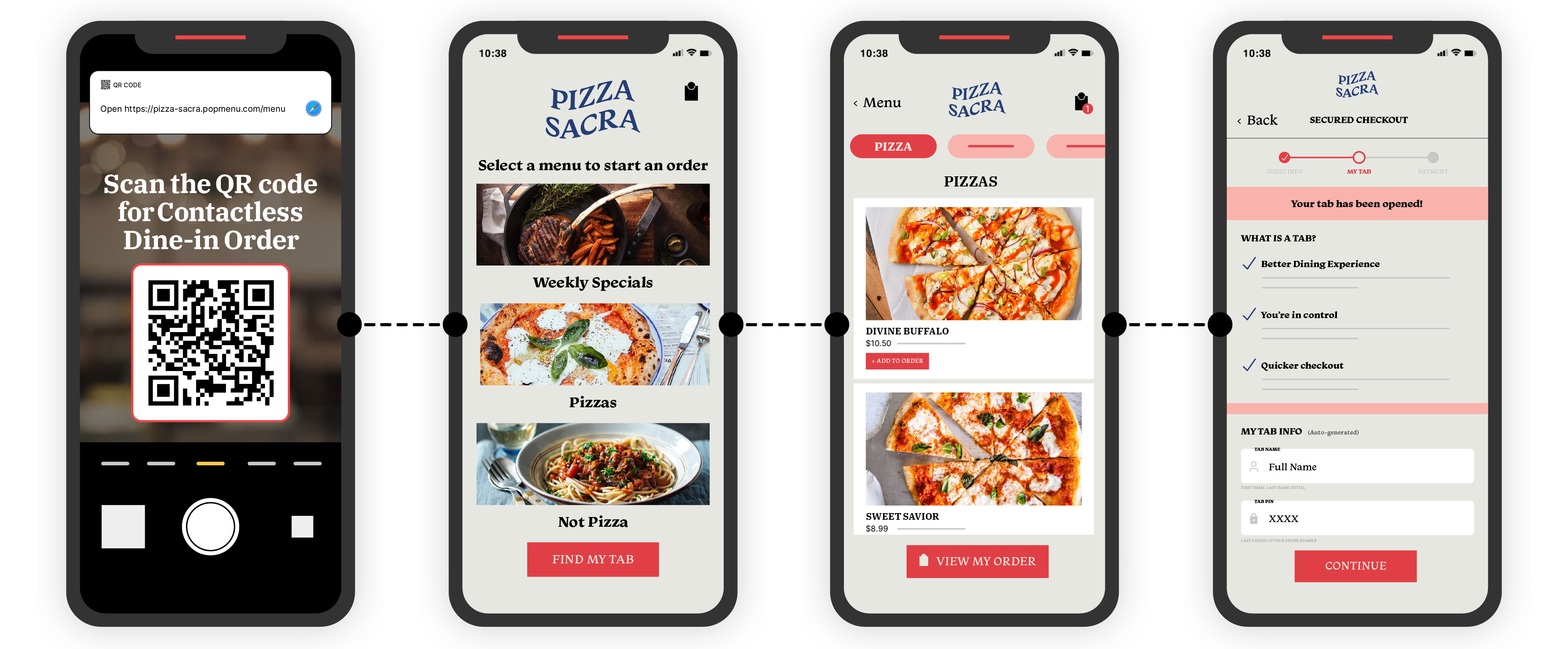 Phones displaying Contactless Ordering process