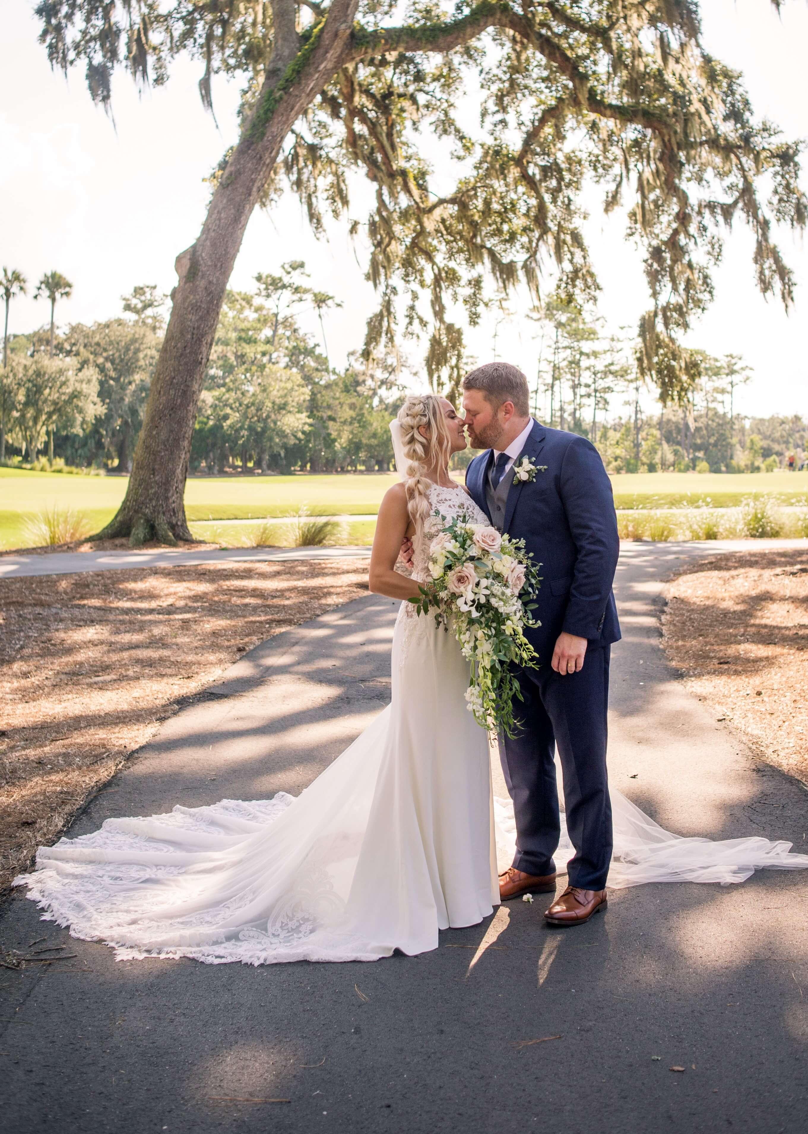 bride and groom wedding dress wedding gown