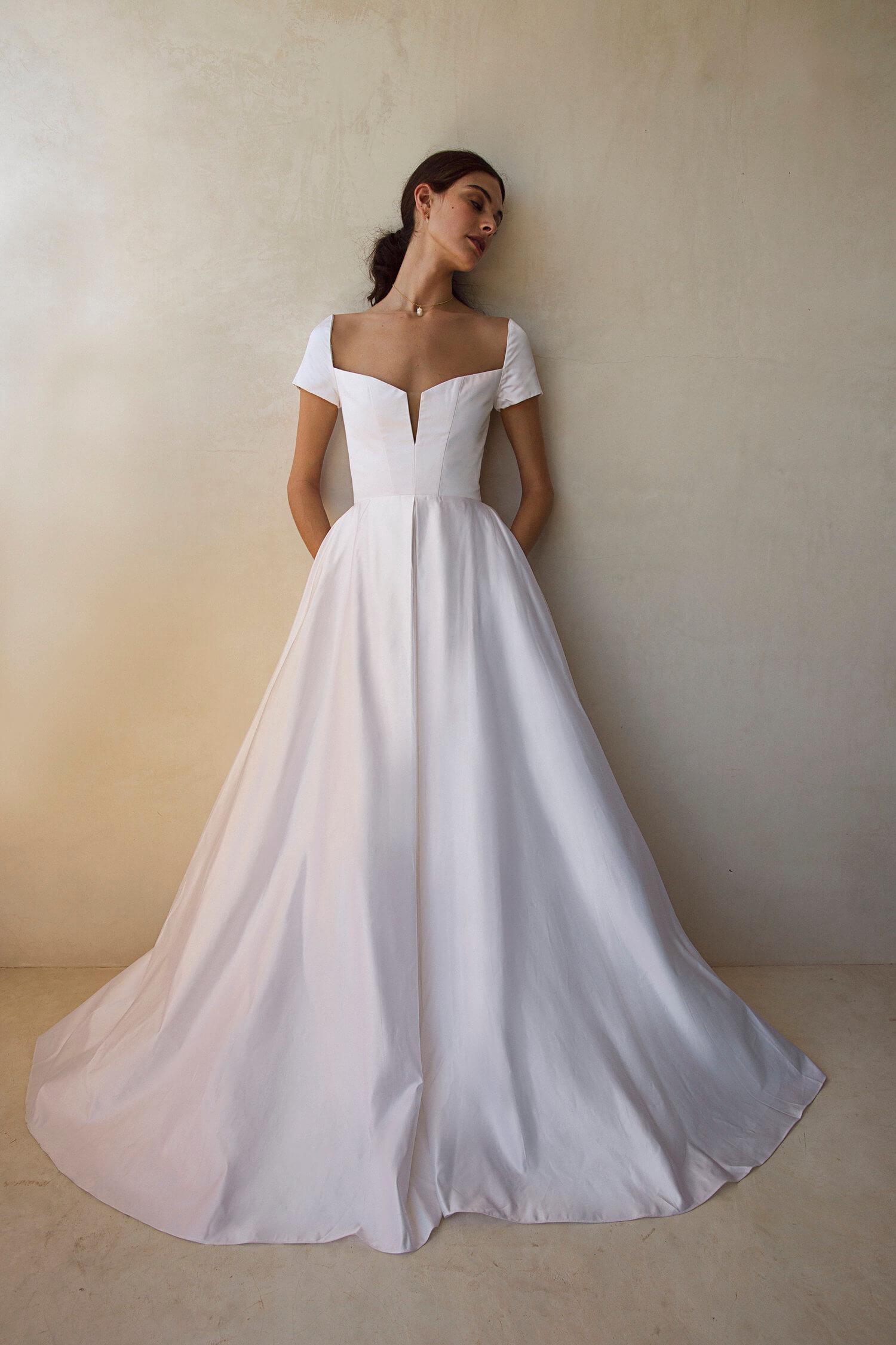 bride ballgown cap sleeve plunge neckline
