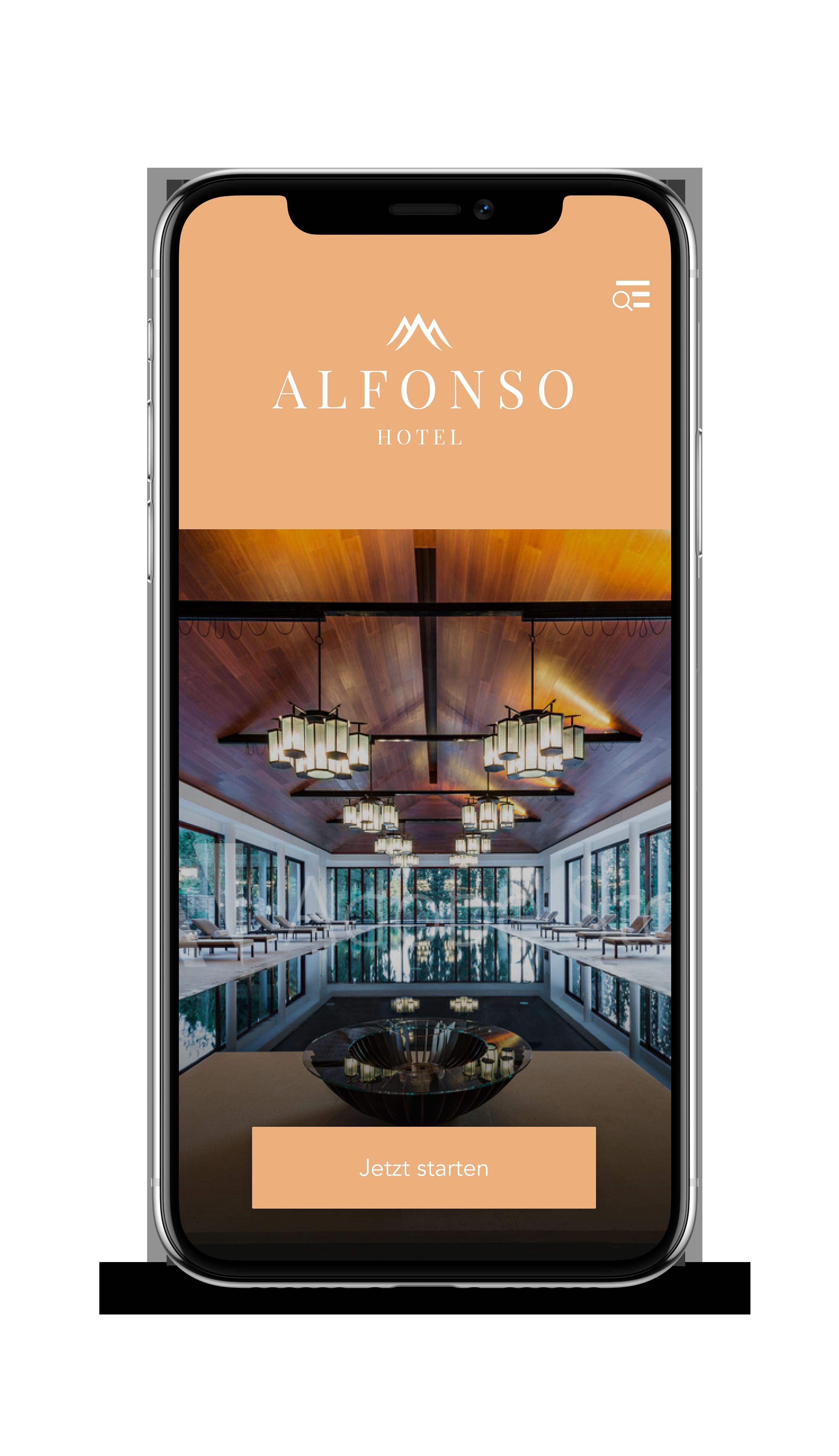 Startbildschirm der App auf einem Handy