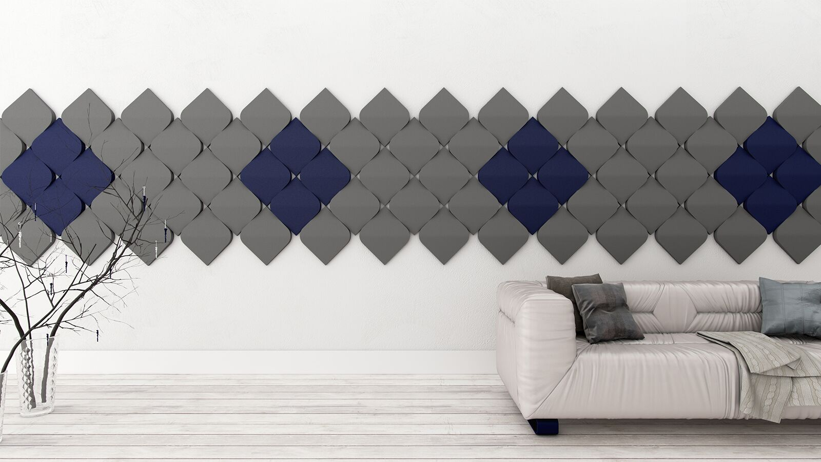 grey and blue wall art