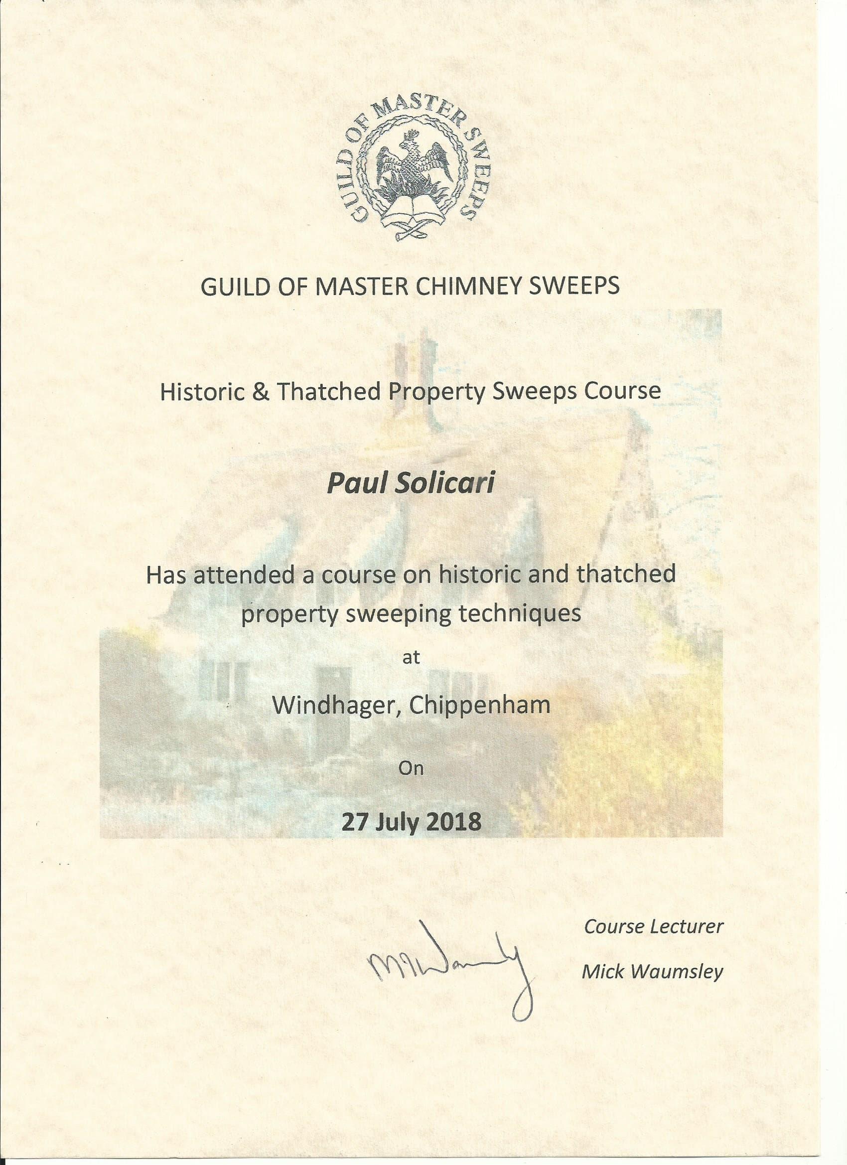 Certificate of sweeping