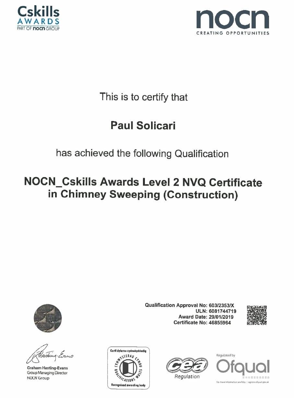 NVQ certificate