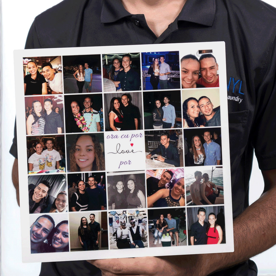 Customer Love Collage Printed on Metal 12x12 inch