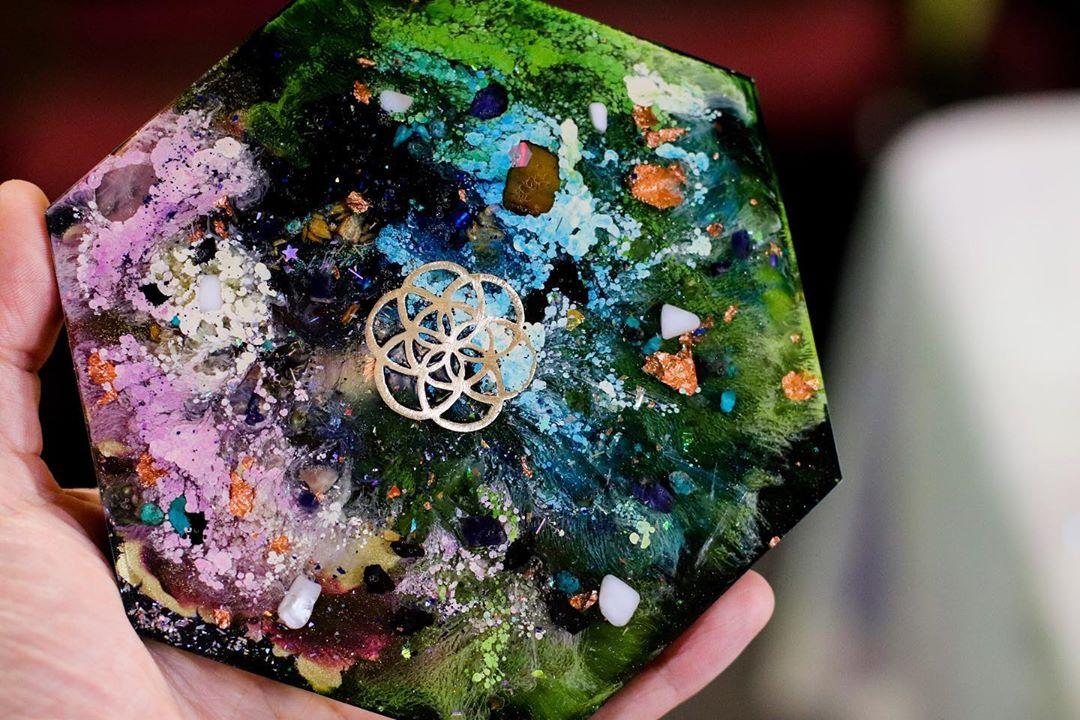 circulate energy custom hexagon charging plate etsy link